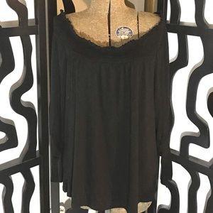 Avenue Plus Size Ruffles Neck Long Sleeve Shirt
